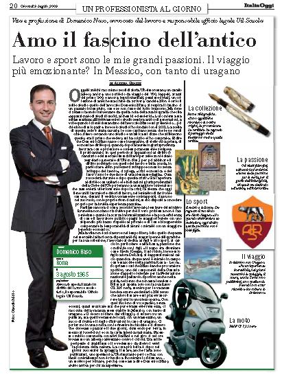 Vita e professione di Domenico Naso – articolo di Alessia Grassi (su Italia Oggi)